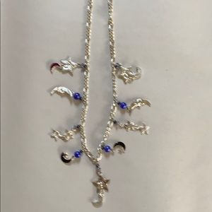 Moon and Stars Silver Charm Necklace